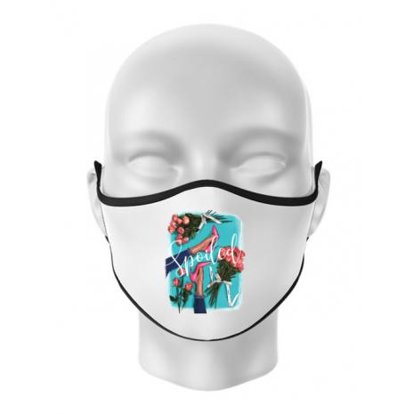 Masca personalizata reutilizabila High Heels and roses Alb