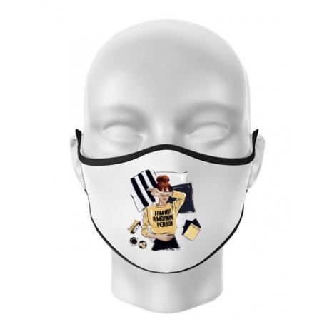 Masca personalizata reutilizabila I am not a morning person Alb