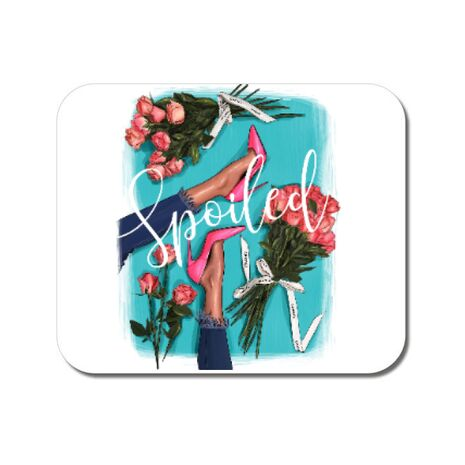 Mousepad personalizat High Heels and roses Alb
