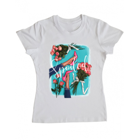Tricou ADLER dama High Heels and roses Alb