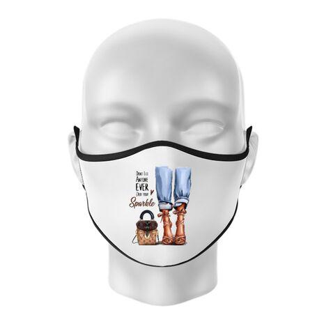 Masca personalizata reutilizabila Sparkle all day Alb