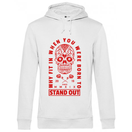 Hoodie barbat cu gluga Born to stand out Alb