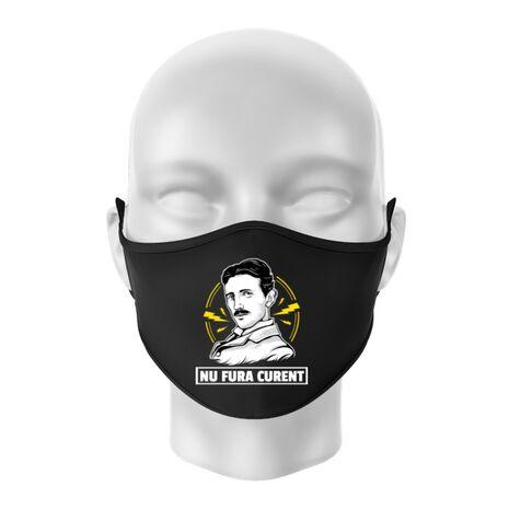 Masca personalizata reutilizabila Nu fura curent Negru