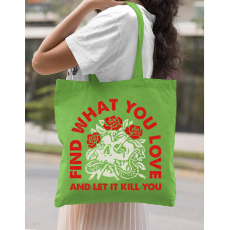 Sacosa din panza Find what you love Verde mar