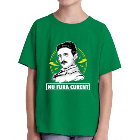 Tricou ADLER copil Nu fura curent Verde mediu