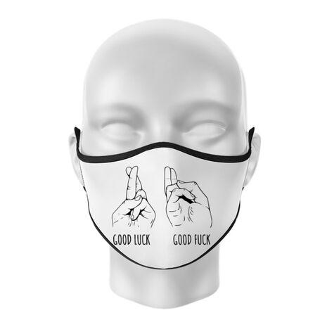 Masca personalizata reutilizabila Good luck Alb
