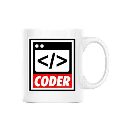 Cana personalizata Coder Alb
