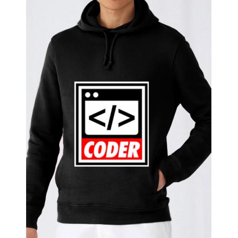 Hoodie barbat cu gluga Coder Negru