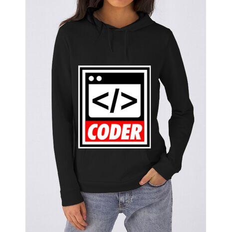 Hoodie dama cu gluga Coder Negru