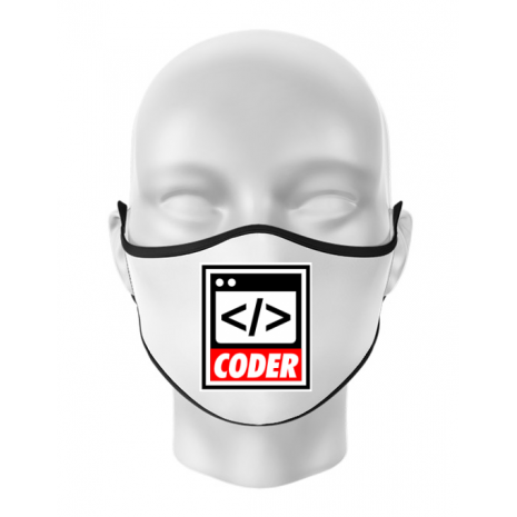Masca personalizata reutilizabila Coder Alb