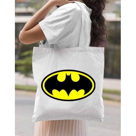 Sacosa din panza Batman Alb