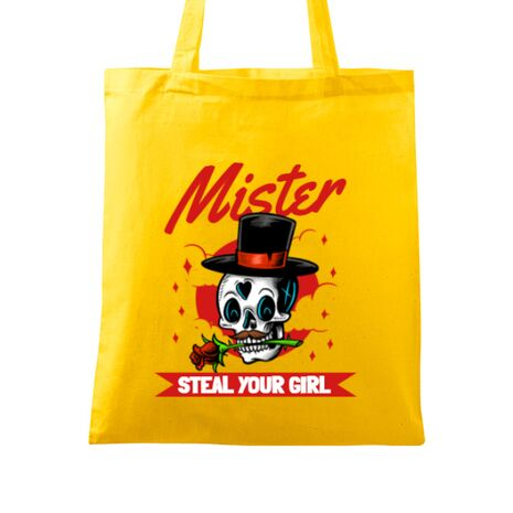 Sacosa din panza Mr. steal your girl Galben