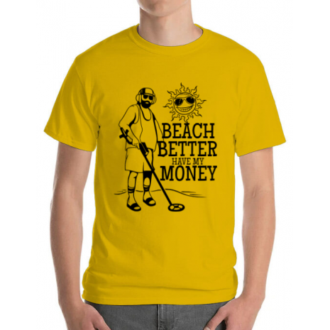 Tricou ADLER barbat Beach better have my money Galben