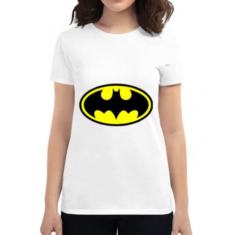 Tricou ADLER dama Batman Alb