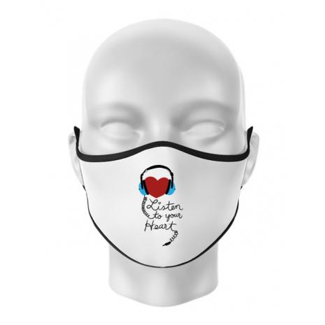 Masca personalizata reutilizabila Listen to your heart Alb