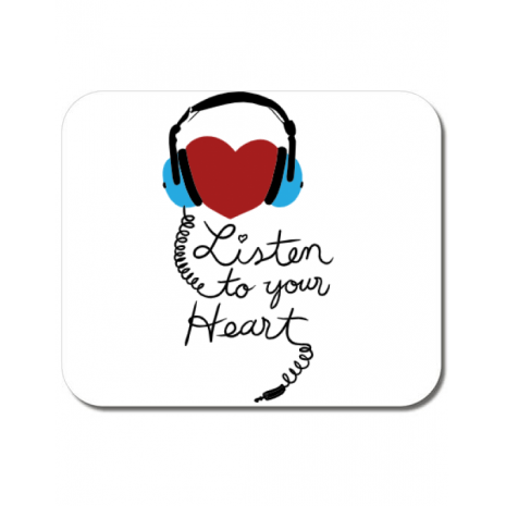 Mousepad personalizat Listen to your heart Alb