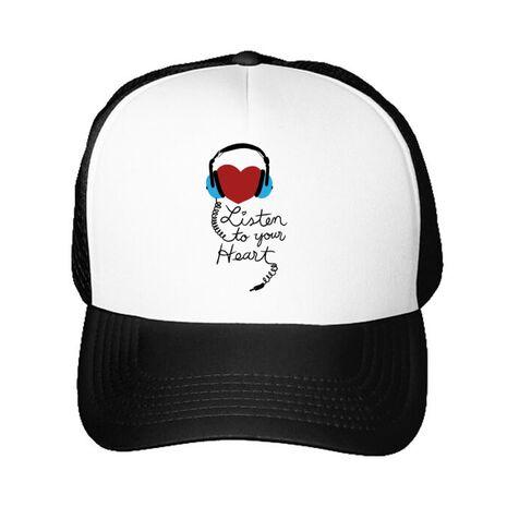 Sapca personalizata Listen to your heart Alb
