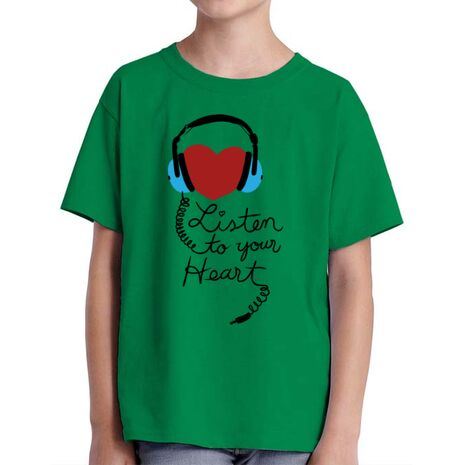 Tricou ADLER copil Listen to your heart Verde mediu