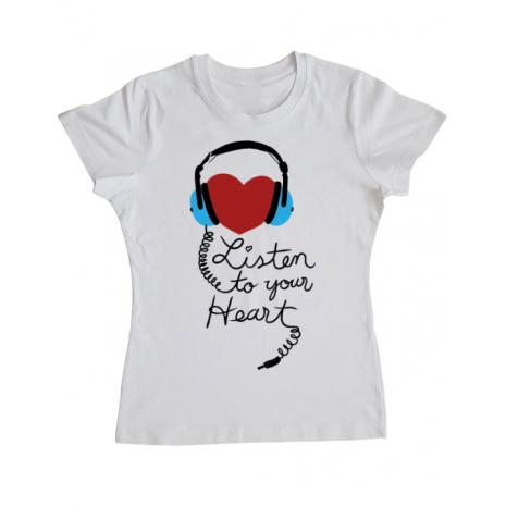 Tricou ADLER dama Listen to your heart Alb