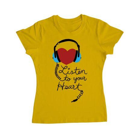Tricou ADLER dama Listen to your heart Galben