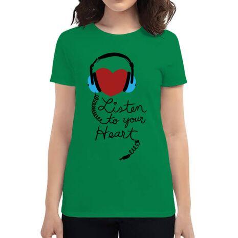 Tricou ADLER dama Listen to your heart Verde mediu