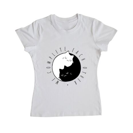Tricou ADLER dama We complete each other Alb