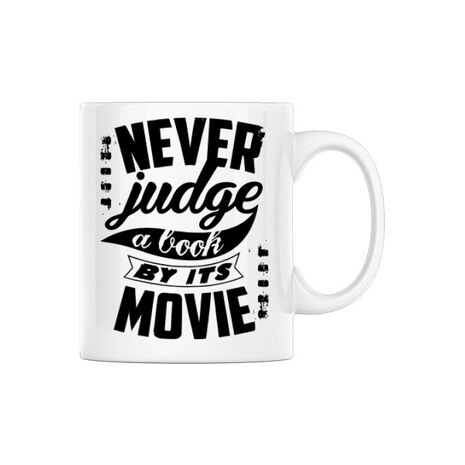 Cana personalizata Never judge a book Alb