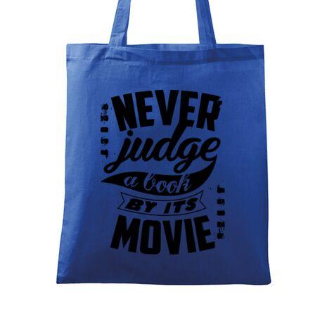 Sacosa din panza Never judge a book Albastru regal