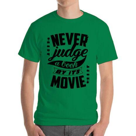 Tricou ADLER barbat Never judge a book Verde mediu