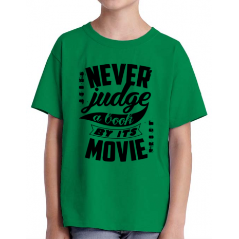 Tricou ADLER copil Never judge a book Verde mediu