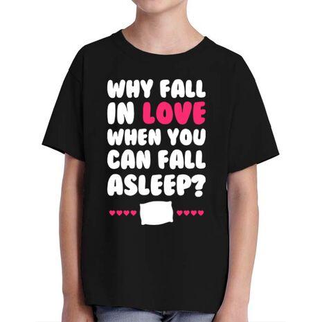 Tricou ADLER copil Why fall in love Negru
