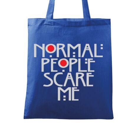 Sacosa din panza Normal people scare me Albastru regal