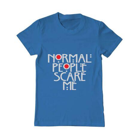 Tricou ADLER barbat Normal people scare me Albastru azuriu