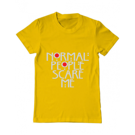 Tricou ADLER barbat Normal people scare me Galben