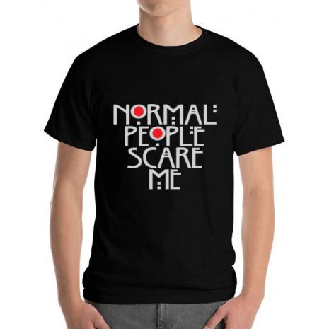 Tricou ADLER barbat Normal people scare me Negru