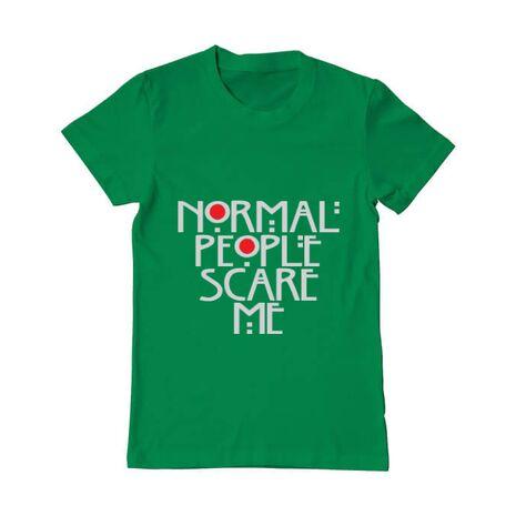 Tricou ADLER barbat Normal people scare me Verde mediu