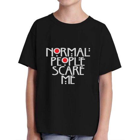 Tricou ADLER copil Normal people scare me Negru