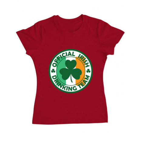 Tricou ADLER dama Irish Drinking Team Rosu