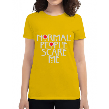 Tricou ADLER dama Normal people scare me Galben