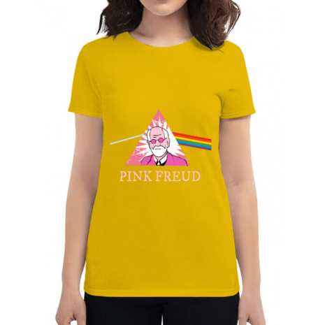 Tricou ADLER dama Pink Freud Galben
