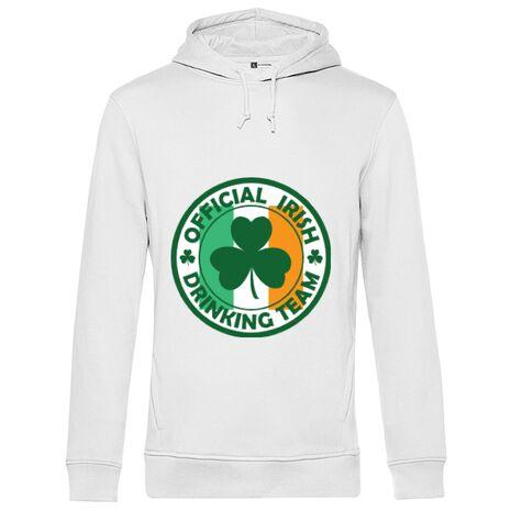 Hoodie barbat cu gluga Irish Drinking Team Alb