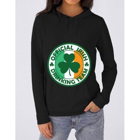 Hoodie dama cu gluga Irish Drinking Team Negru