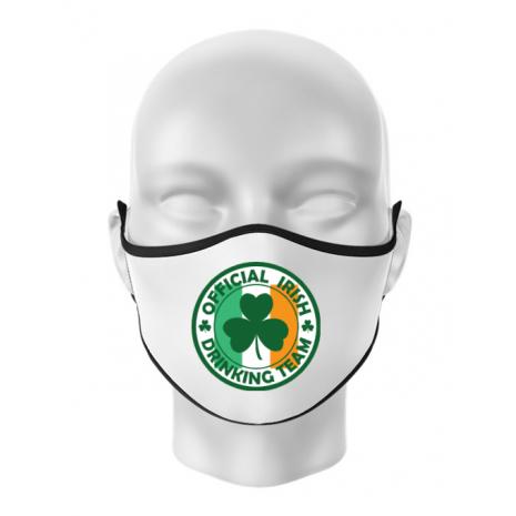 Masca personalizata reutilizabila Irish Drinking Team Alb
