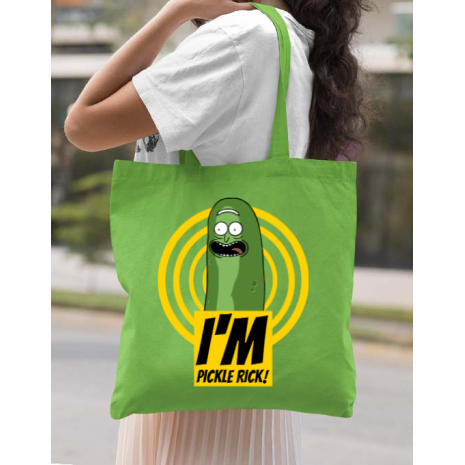 Sacosa din panza I'm pickle Rick! Verde mar