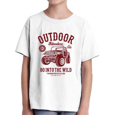 Tricou ADLER copil Outdoor Adventure Alb