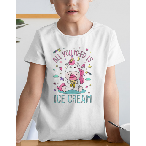 Tricou de colorat All you need is ice cream SET
