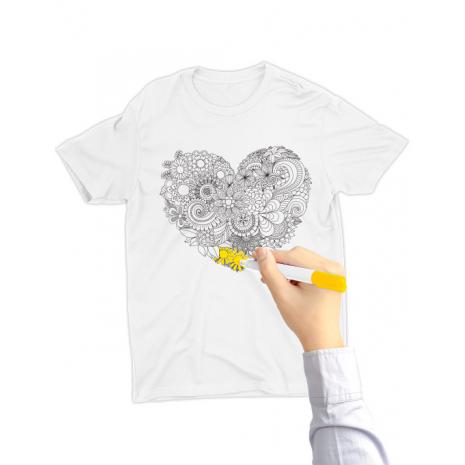 Tricou de colorat Floral heart SET