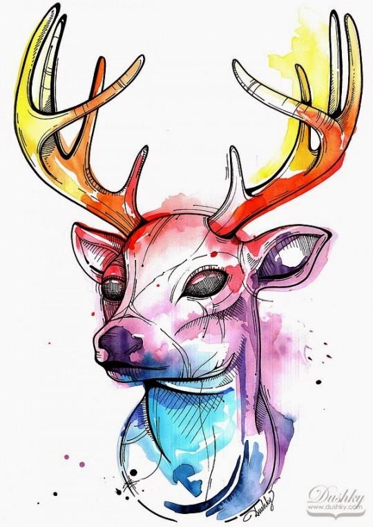 Watercolour Deer illustration